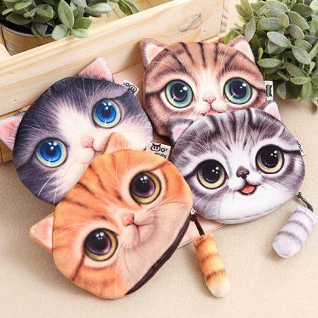 کیف پول زنانه مخملی طرح گربه سه بعدی