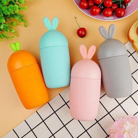 قمقمه شیشه ای با روکش سیلیکونی طرح خرگوش و هویج