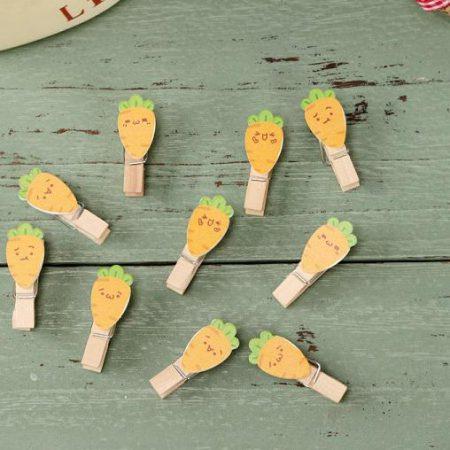 بسته 10 عددی گیره چوبی طرح هویج