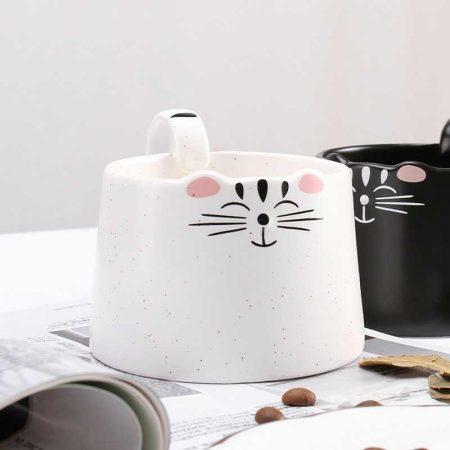 ماگ سرامیکی طرح گربه سیاه و سفید