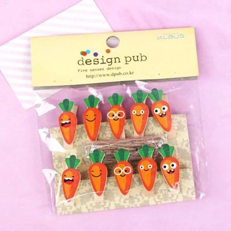 بسته 10 عددی گیره چوبی طرح هویج (2)