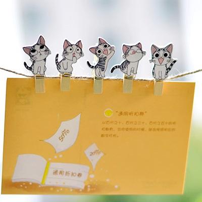 بسته ۱۰ عددی گیره چوبی طرح گربه طوسی