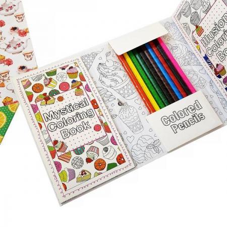 ست دفتر رنگ آمیزی و مدادرنگی طرح شیرینی