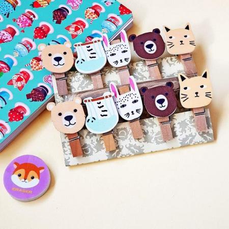 بسته 10 عددی گیره چوبی طرح حیواناتبسته 10 عددی گیره چوبی طرح حیوانات