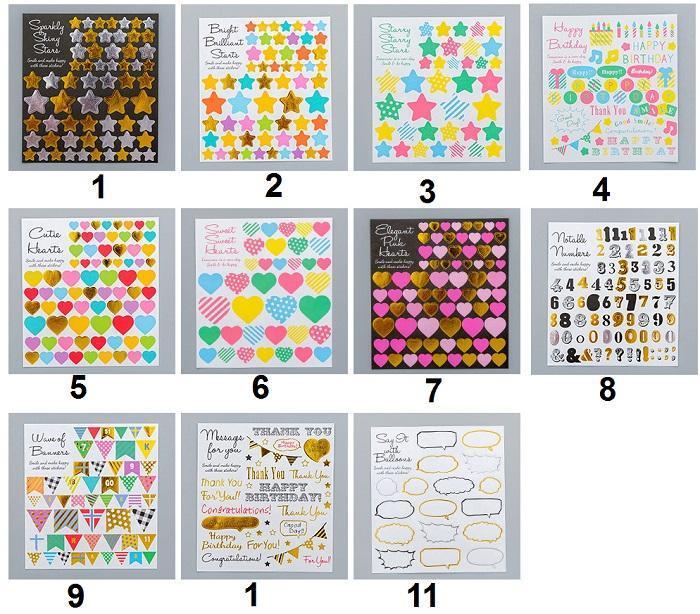 ست استیک لیبل ورقه ای با 11 طرح