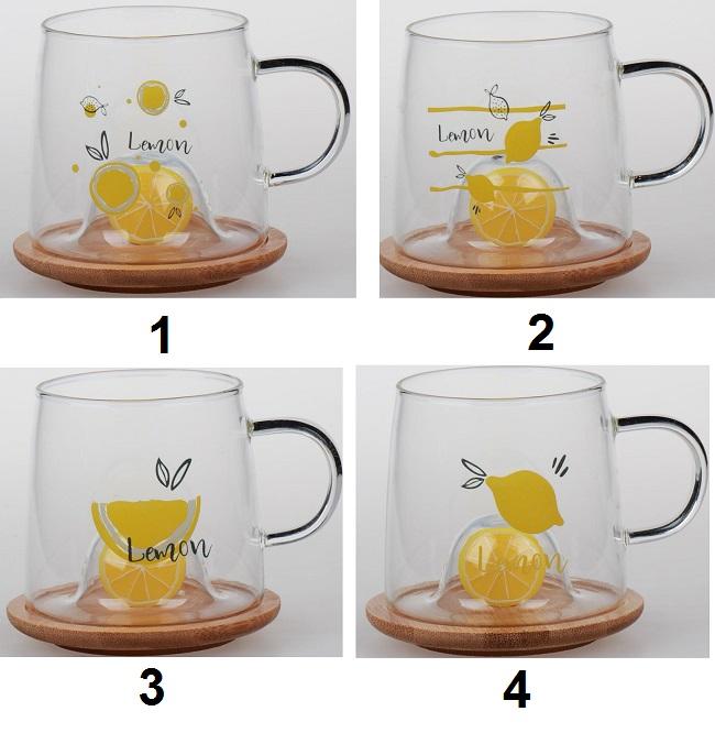 ماگ 300 میل لیتری شیشه ای طرح لیمو