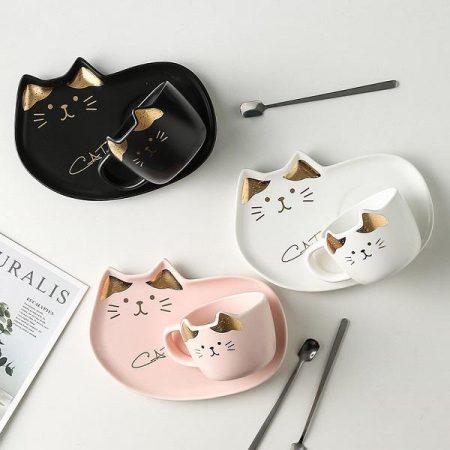 ست ماگ و بشقاب طرح گربه طلایی