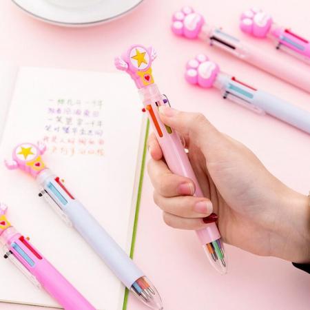 خودکار شش رنگ طرح پنجه و ستاره