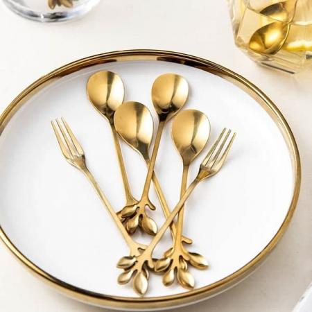 قاشق، چنگال و چاقو فلزی رنگ رز گلد