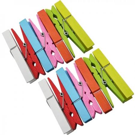 گیره چوبی 20 عددی رنگی با بند کنفی