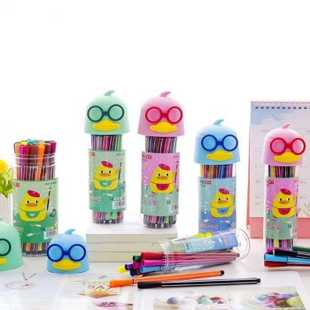 ماژیک رنگ آمیزی ۱۲ رنگ طرح جوجه عینک دار